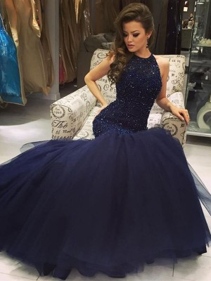Trumpet/Mermaid Sleeveless Floor-Length Jewel Tulle Beading Dresses