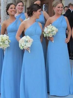 Sheath/Column One-Shoulder Chiffon Sleeveless Floor-Length Bridesmaid Dresses