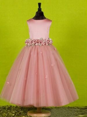 A-line/Princess Scoop Sleeveless Bowknot Long Tulle Flower Girl Dresses
