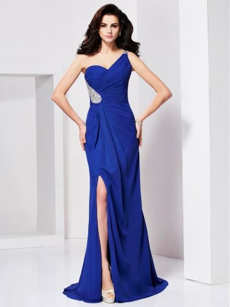A-Line/Princess One-Shoulder Beading Sleeveless Pleats Long Chiffon Dresses