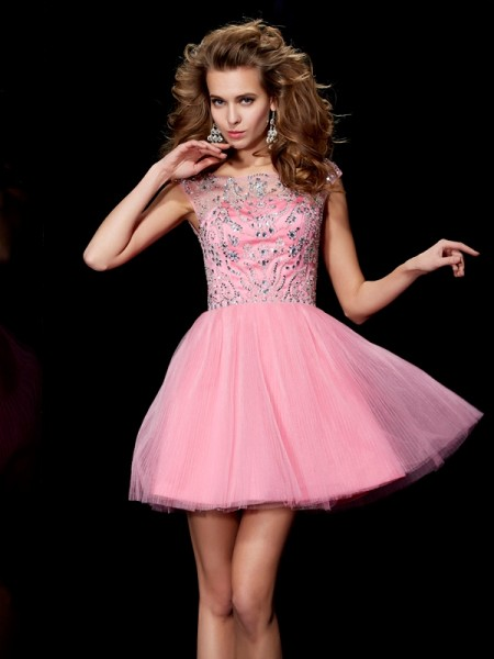 A-Line/Princess Bateau Sleeveless Beading Short Satin Homecoming Dresses
