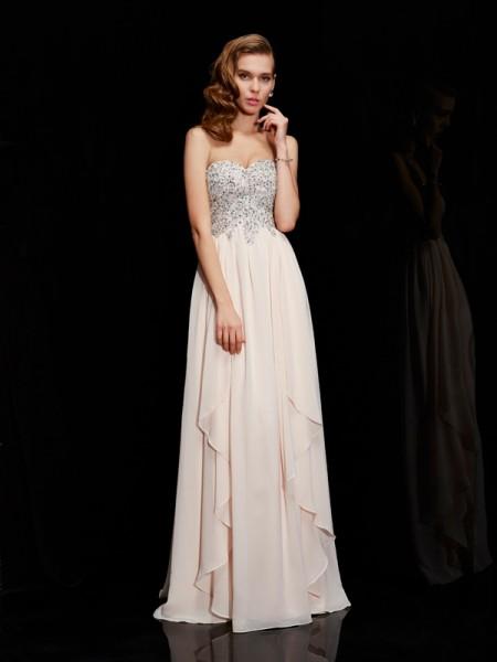 Sheath/Column Sweetheart Sleeveless Beading Long Chiffon Dresses
