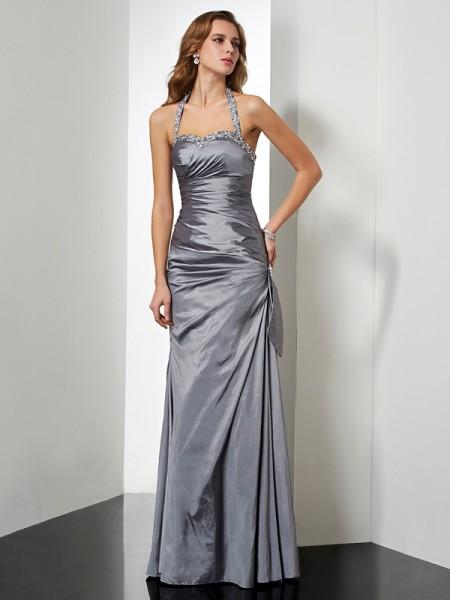 Trumpet/Mermaid Halter Sleeveless Beading Long Taffeta Dresses