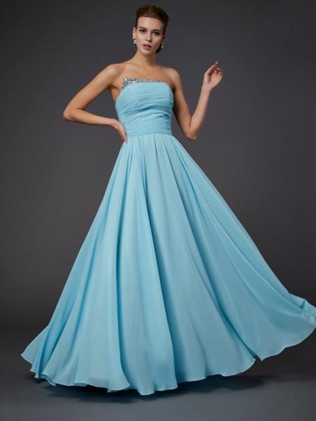 Sheath/Column Strapless Beading Sleeveless Long Chiffon Dresses
