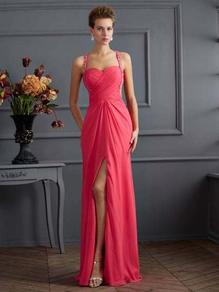Empire Sweetheart Sleeveless Ruffles Long Chiffon Dresses