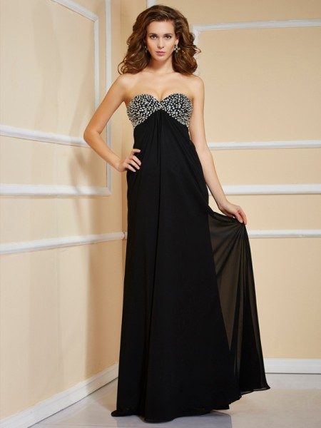 Sheath/Column Sweetheart Sleeveless Ruffles Beading Long Chiffon Dresses