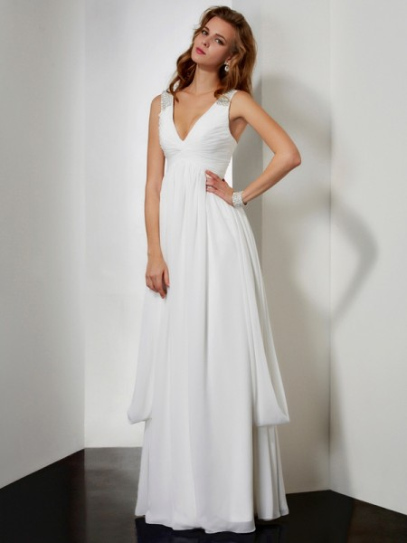 A-Line/Princess V-neck Sleeveless Rhinestone Long Chiffon Dresses