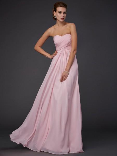 Sheath/Column Sweetheart Sleeveless Ruffles Long Chiffon Dresses