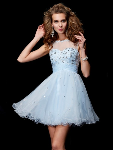 A-Line/Princess Scoop Sleeveless Beading Short Elastic Woven Satin Homecoming Dresses