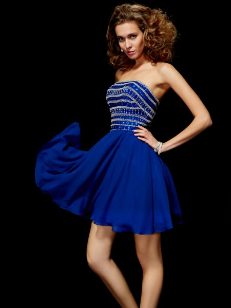 A-Line/Princess Strapless Sleeveless Rhinestone Short Chiffon Homecoming Dresses