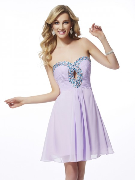 A-Line/Princess Sweetheart Sleeveless Beading Chiffon Short Homecoming Dresses