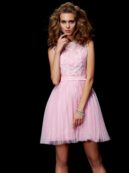 A-Line/Princess Scoop Beading Short Elastic Woven Satin Homecoming Dresses
