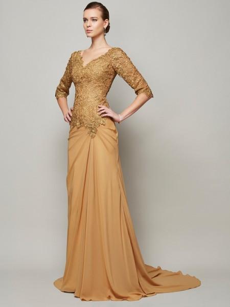 Sheath/Column V-neck 1/2 Sleeves Lace Long Chiffon Dresses