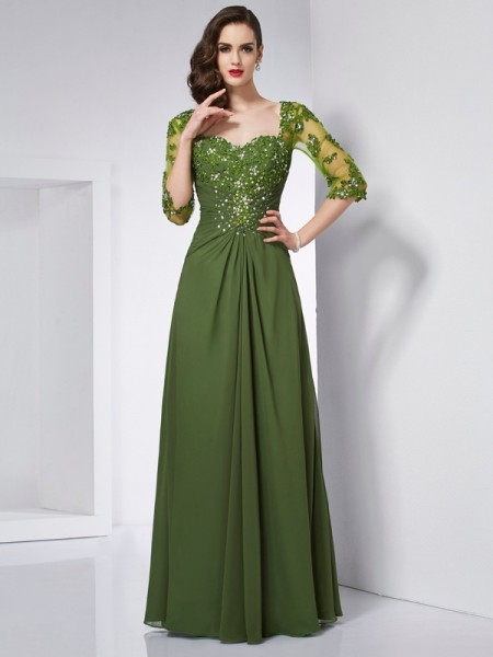A-Line/Princess Sweetheart 3/4 Sleeves Beading Long Chiffon Dresses
