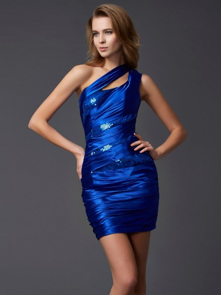 Sheath/Column One-Shoulder Sleeveless Paillette Short Silk like Satin Homecoming Dresses