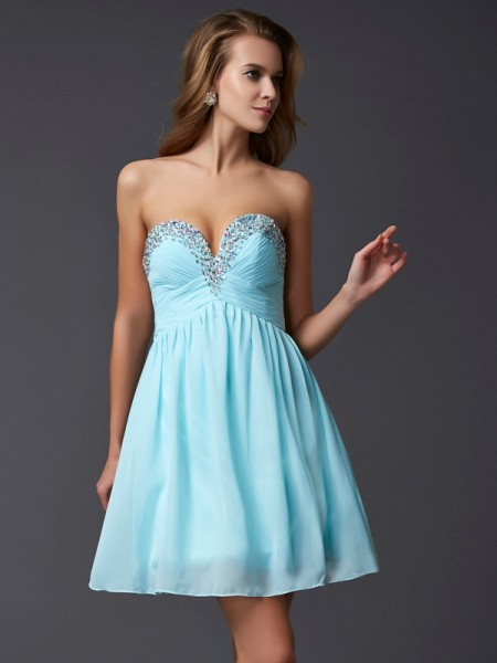 A-Line/Princess Sleeveless Sweetheart Beading Short Chiffon Homecoming Dresses