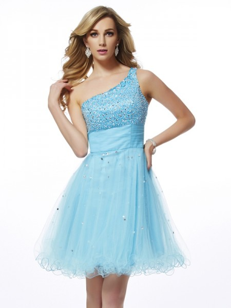 A-Line/Princess One-Shoulder Sleeveless Beading Short Organza Homecoming Dresses