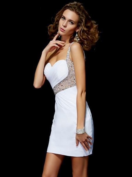 A-Line/Princess One-Shoulder Sleeveless Sequin Short Chiffon Homecoming Dresses