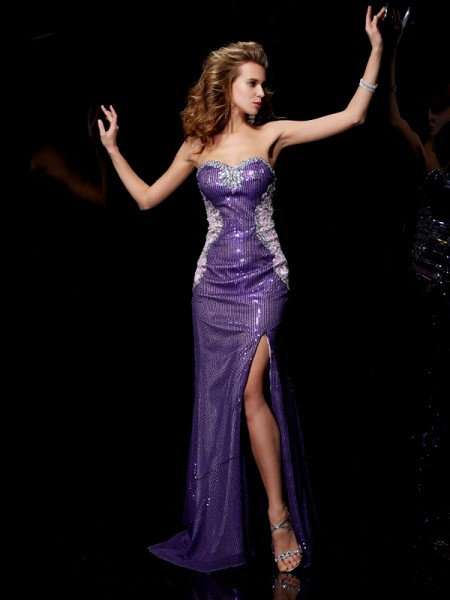 Sheath/Column Sweetheart Beading Sleeveless Long Elastic Woven Satin Dresses