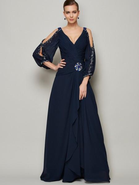 A-Line/Princess V-neck Long Sleeves Beading Long Chiffon Dresses