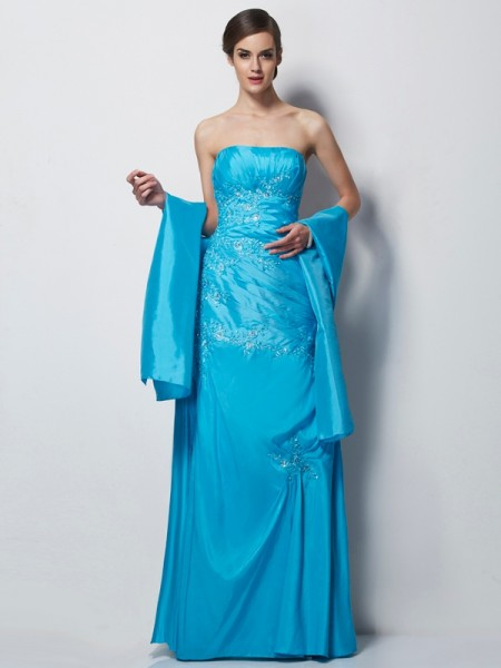 A-Line/Princess Sweetheart Sleeveless Applique Long Taffeta Mother of the Bride Dresses