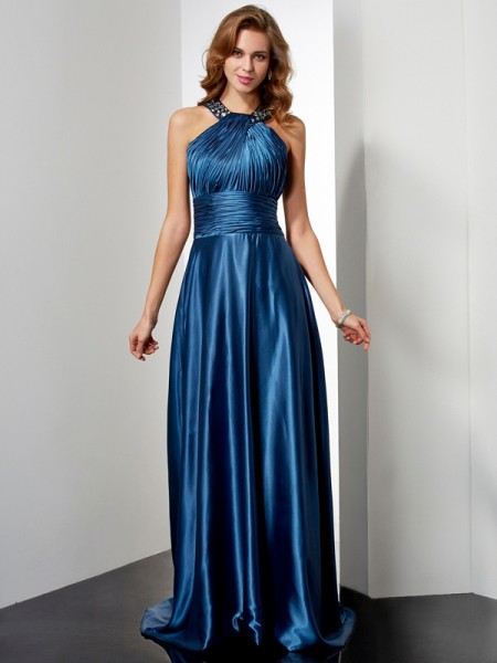 A-Line/Princess Halter Sleeveless Ruffles Long Elastic Woven Satin Dresses