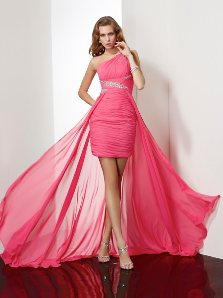 Sheath/Column One-Shoulder Beading Sleeveless Short Chiffon Homecoming Dresses