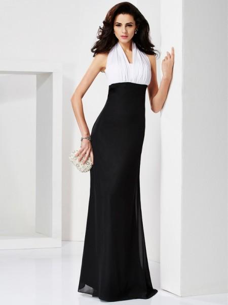 Trumpet/Mermaid Halter Sleeveless Pleats Long Chiffon Dresses
