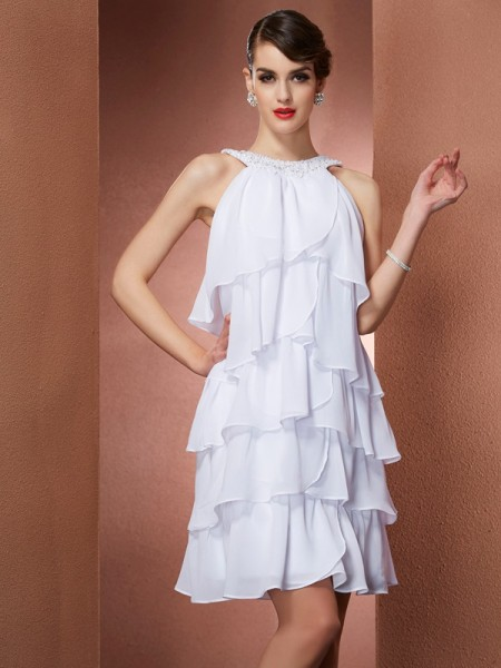 A-Line/Princess Scoop Sleeveless Beading Short Chiffon Homecoming Dresses