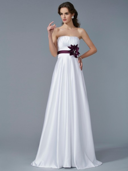 A-Line/Princess Strapless Sleeveless Hand-Made Flower Long Satin Dresses