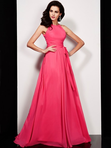A-Line/Princess High Neck Sleeveless Sash/Ribbon/Belt Long Chiffon Dresses