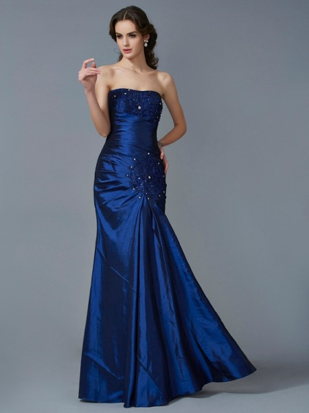 Trumpet/Mermaid Strapless Sleeveless Applique Long Taffeta Dresses