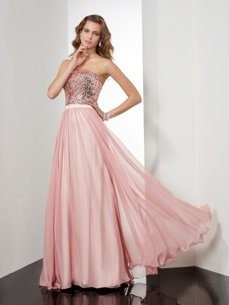 A-Line/Princess Strapless Sleeveless Paillette Long Chiffon Dresses
