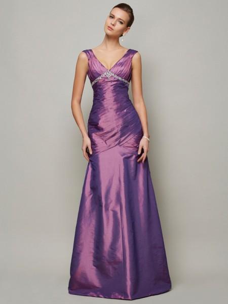 Sheath/Column V-neck Sleeveless Beading Long Taffeta Dresses