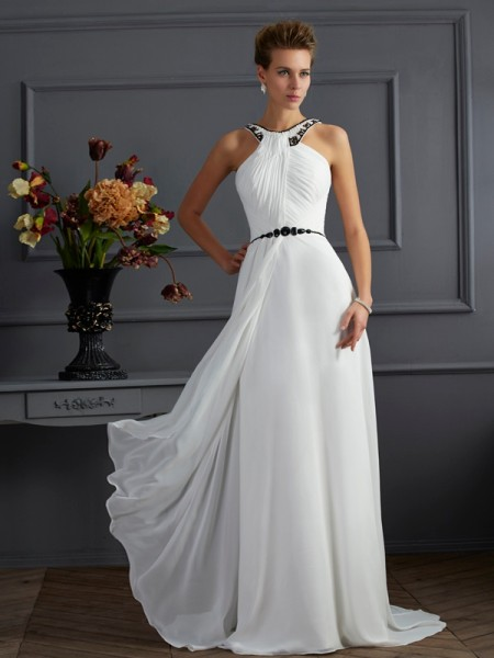 A-Line/Princess High Neck Sleeveless Beading Long Chiffon Dresses