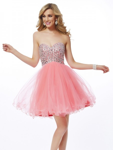 A-Line/Princess Sweetheart Sleeveless Beading Short Net Homecoming Dresses