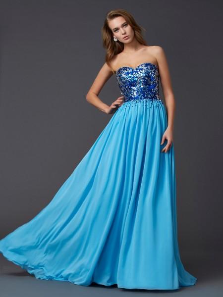 A-Line/Princess Sweetheart Sleeveless Paillette Long Chiffon Dresses