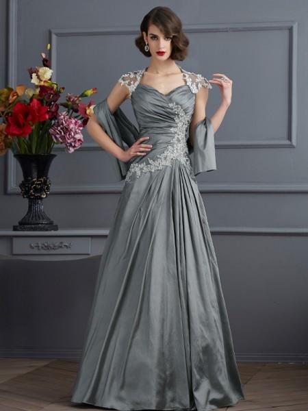 A-Line/Princess Sweetheart Short Sleeves Beading Long Taffeta Dresses