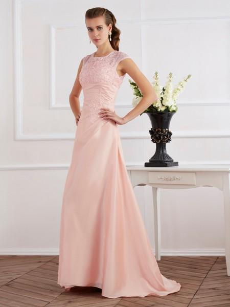Sheath/Column High Neck Short Sleeves Beading Long Chiffon Dresses