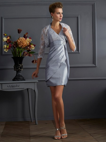 Sheath/Column V-neck Sleeveless Short Taffeta Mother of the Bride Dresses
