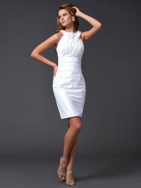 Sheath/Column High Neck Sleeveless Hand-Made Flower Short Taffeta Homecoming Dresses