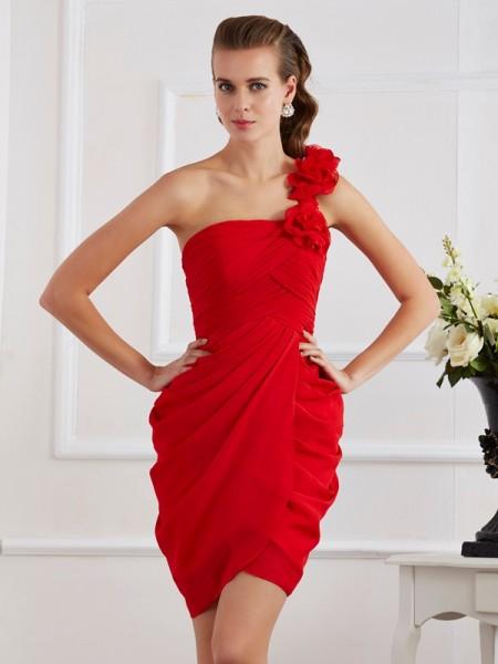Sheath/Column One-Shoulder Sleeveless Hand-Made Flower Short Chiffon Homecoming Dresses