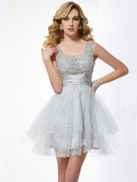 A-Line/Princess Straps Sleeveless Beading Short Elastic Woven Satin Homecoming Dresses