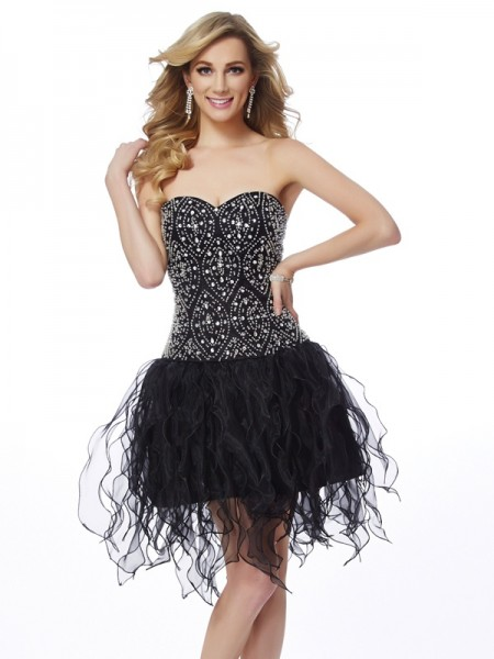 Sheath/Column Sweetheart Sleeveless Beading Short Organza Homecoming Dresses
