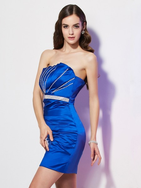 Sheath/Column Strapless Sleeveless Beading Short Satin Homecoming Dresses