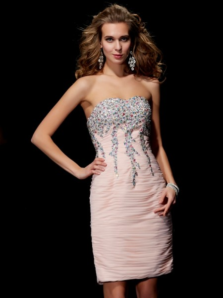 A-Line/Princess Sweetheart Sleeveless Beading Short Chiffon Homecoming Dresses
