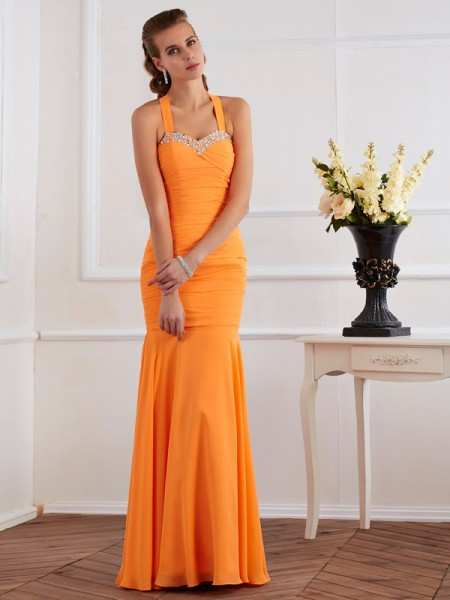 Trumpet/Mermaid Halter Sleeveless Beading Long Chiffon Dresses