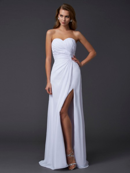Sheath/Column Sweetheart Sleeveless Pleats Long Chiffon Dresses