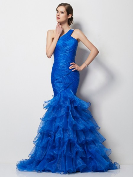 Trumpet/Mermaid One-Shoulder Sleeveless Pleats Long Tulle Dresses