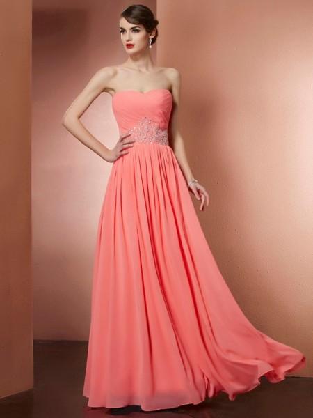 A-Line/Princess Strapless Sleeveless Pleats Beading Long Chiffon Dresses